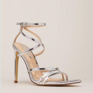 Silver strappy stilettos 👠